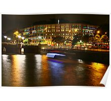 Urban Landscape, night Singapore, Singapore River, Ministry of Communication Poster