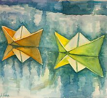 Paper boats by VicFreyd