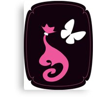 pink Cat with big white butterfly on black background Canvas Print