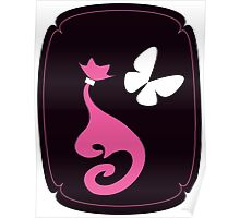 pink Cat with big white butterfly on black background Poster