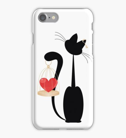 Cat and heart  on the gold cage on  white background iPhone Case/Skin