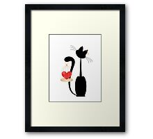 Cat and heart  on the gold cage on  white background Framed Print