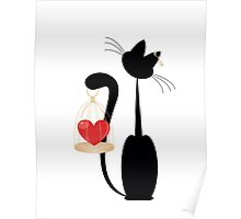 Cat and heart  on the gold cage on  white background Poster