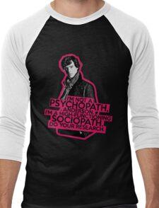 Sherlock - Sociopath not Psychopath Men's Baseball ¾ T-Shirt