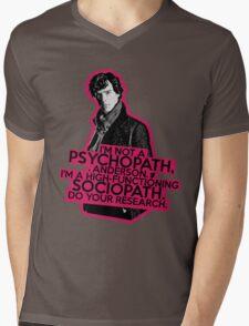 Sherlock - Sociopath not Psychopath Mens V-Neck T-Shirt