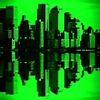 Night Vision Downtown NYC Cityscape Skyline by Noel Moore Up The Banner Photography
