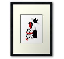 big black cat and box with red ribbon Framed Print