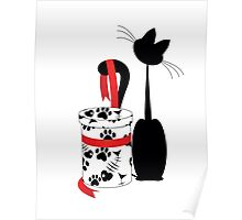 big black cat and box with red ribbon Poster
