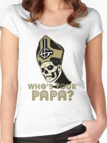 WHO'S YOUR PAPA? - browns Women's Fitted Scoop T-Shirt