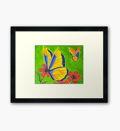 Butterflies and Poppies Framed Print