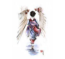 Geisha Japanese woman in kimono original Japan painting art Photographic Print