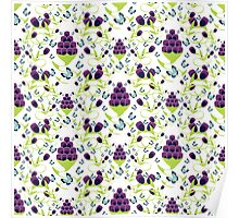seamless pattern  with abstract flowers and butterfly Poster