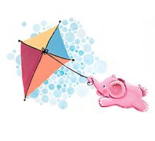 Kite Flying - Rondy the Elephant in the sky Photographic Print