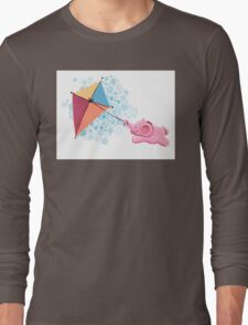Kite Flying - Rondy the Elephant in the sky Long Sleeve T-Shirt