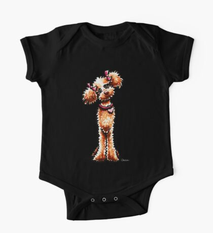 Girly Apricot Poodle One Piece - Short Sleeve