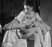 Even a lady must adjust her stockings by syze