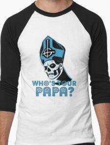 WHO'S YOUR PAPA? - light blue Men's Baseball ¾ T-Shirt