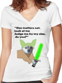Chihuahua Yoda Women's Fitted V-Neck T-Shirt