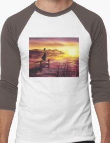 Girl Watching Sunset At The Lake Men's Baseball ¾ T-Shirt