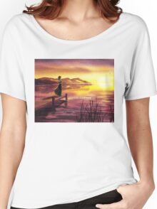 Girl Watching Sunset At The Lake Women's Relaxed Fit T-Shirt