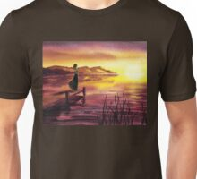 Girl Watching Sunset At The Lake Unisex T-Shirt