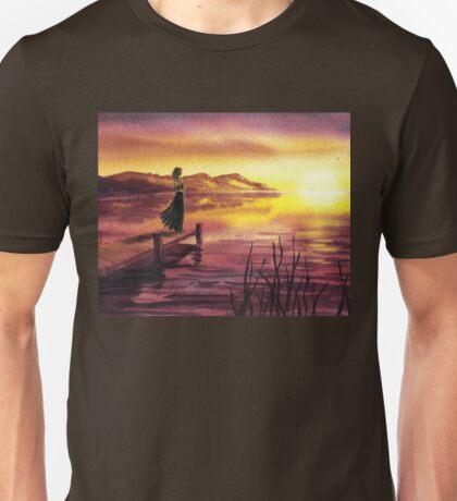 Girl Watching Sunset At The Lake Unisex T-Shirt
