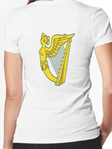 IRISH HARP IRELAND GREEN GOLD Women's Fitted V-Neck T-Shirt