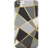 Black & Gray Modern Geo Gold Triangles iPhone Case/Skin