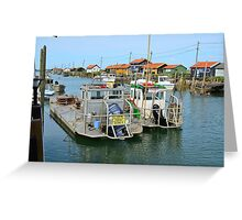La Tremblade, site ostriecole,  Oyster farming harbour, Charente Maritime, France Greeting Card