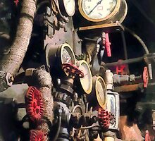 Trains - Inside Cab of Steam Locomotive by Susan Savad
