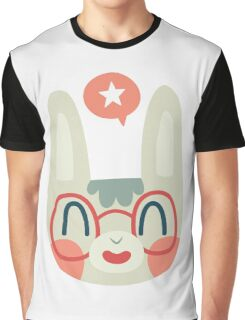 Cute Green Bunny Wearing Glasses Graphic T-Shirt