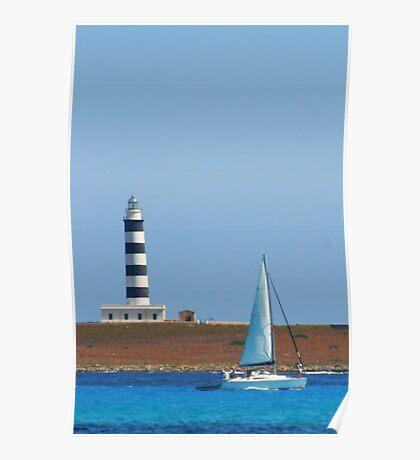 Lighthouse & Boat, Menorca Poster