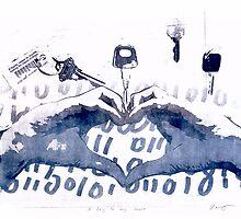 A key to my heart artprint with love binar code by Veera Pfaffli