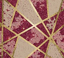 Rustic Chic Burgundy Red Glitter & Gold Triangles by Blkstrawberry