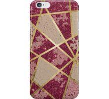 Rustic Chic Burgundy Red Glitter & Gold Triangles iPhone Case/Skin