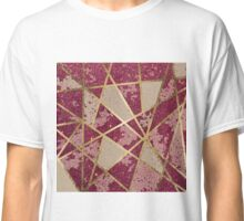 Rustic Chic Burgundy Red Glitter & Gold Triangles Classic T-Shirt