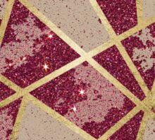 Rustic Chic Burgundy Red Glitter & Gold Triangles Sticker