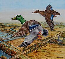 Mallards Over The Prairie by WildestArt