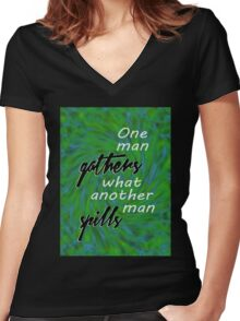 One Man Gathers... Women's Fitted V-Neck T-Shirt