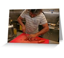 Omar Allibhoy chops chorizo sausages Greeting Card