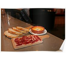 Cured Ham,bread and a Tomato dip at Tapas Revolution Poster