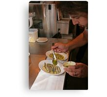 Omar Allibhoy prepares anchiovies at his restaurant Tapas Revolution Canvas Print