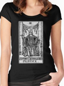 Justice Tarot Card - Major Arcana - fortune telling - occult Women's Fitted Scoop T-Shirt