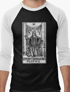 Justice Tarot Card - Major Arcana - Fortune Telling - Occult Men's Baseball ¾ T-Shirt