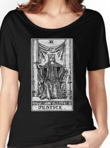 Justice Tarot Card - Major Arcana - Fortune Telling - Occult Women's Relaxed Fit T-Shirt