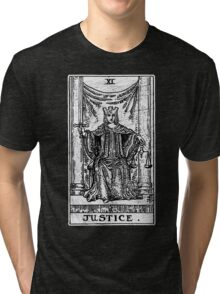 Justice Tarot Card - Major Arcana - Fortune Telling - Occult Tri-blend T-Shirt