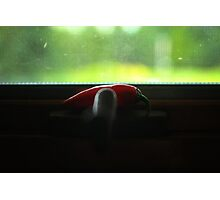 Red Hot Chili Pepper on a Window Crank Photographic Print