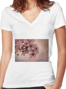 cherry tree flowers Women's Fitted V-Neck T-Shirt