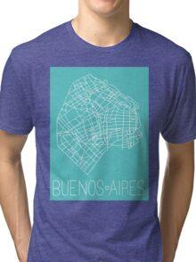 Buenos Aires Map - Teal Tri-blend T-Shirt