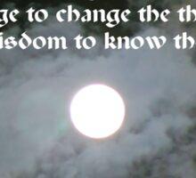 Full Moon Night Sky Serenity Prayer Sticker